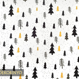 Siyah Gold Çam Ağacı Desenli Kumaş