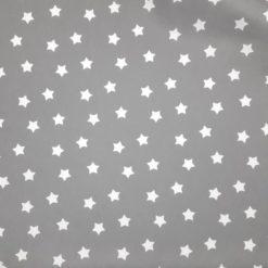 Gri Zeminli Beyaz Yıldızlı Kumaş