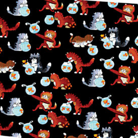 Oyuncu Kediler Kumaş