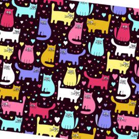 Rengarenk Kediler Kumaş