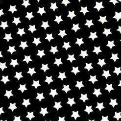 Siyah Zemin Beyaz Yıldızlı Kumaş