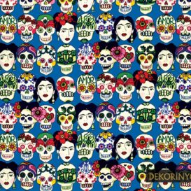 Frida Kahlo ile Kurukafalar Kumaş