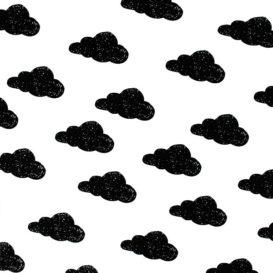 Siyah Bulut Desenli Kumaş
