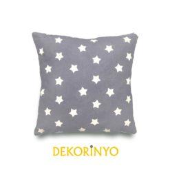 Gri Sevimli Yıldızlar Kırlent