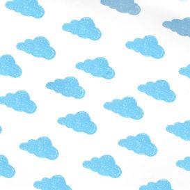 Mavi Sevimli Bulutlar Kumaş