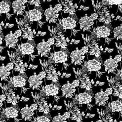 Siyah Retro Çiçekler Kumaş