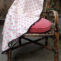 Pembe Flamingo Desenli Koltuk Şalı