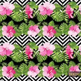 Zigzag Pembe Çiçekler Kumaş