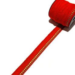 Kırmızı Nakış Örgülü Saçaklı Şerit