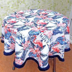 Flamingo Desenli Saçaklı Masa Örtüsü