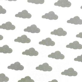 Gri Sevimli Bulutlar Kumaş