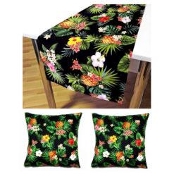Siyah Zeminli Ananaslar ve Çiçekler Seti