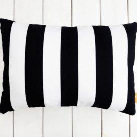 Siyah Beyaz Çizgili Dikdörtgen Kırlent