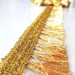 Gold Simli Püskül Şerit Kenarlık