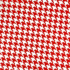 Kırmızı Kaz Ayağı Desenli Kumaş