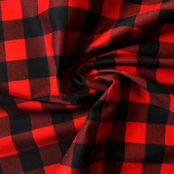 Kırmızı Siyah Pötikare Desenli Kumaş