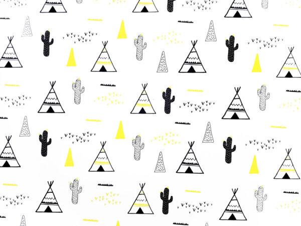 Sarı Çadırlar ve Kaktüsler Kumaş