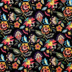 Nakış Efektli Çiçek Desenli Kumaş