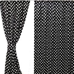 Siyah Zeminli Yıldız Desenli Perde