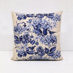 Mavi Soft Çiçekler Kırlent