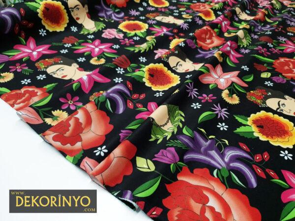 Frida Kahlo ve Çiçekler Kumaş