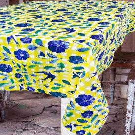 Sarı Pötikare ve Kırlangıçlar Masa Örtüsü