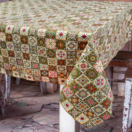 Vintage Seramik Desenli Masa Örtüsü