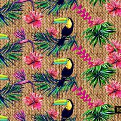 Hasır Zeminli Tukan Kuşu Desenli Kumaş
