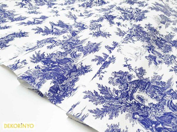 Bleu Blanc Desenli Kumaş