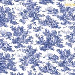 Retro Bleu Blanc Desenli Kumaş