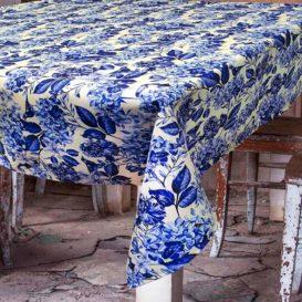 Mavi Soft Çiçekler Masa Örtüsü