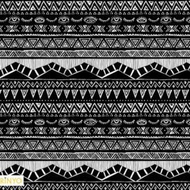 Siyah Zeminli Aztek Desenli Kumaş