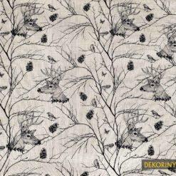 Keten Efektli Geyik ve Kuşlar Desenli Kumaş