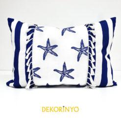 Lacivert Çizgili Deniz Yıldızları Dekoratif Kırlent