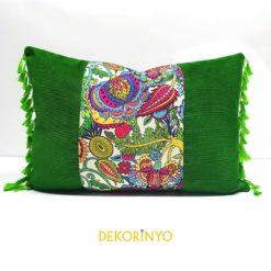 Meksika Çiçekleri Desenli Dikdörtgen Kırlent