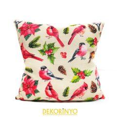 Saka Kuşu Desenli Dekoratif Kırlent