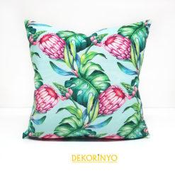 Afrika Çiçeği Desenli Dekoratif Kırlent