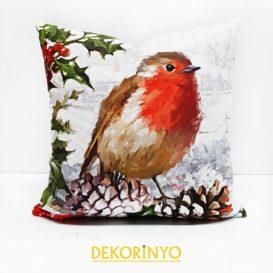 Kızılgerdan Kuşu Desenli Dekoratif Kırlent