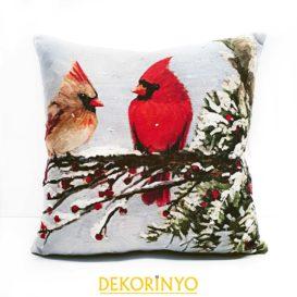 Kardinal Kuşu Desenli Dekoratif Kırlent