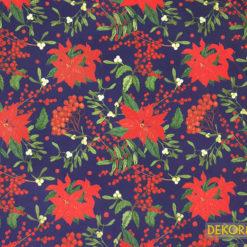 Yılbaşı Çiçekleri Desenli Döşemelik Kumaş