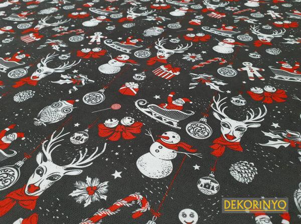 Noel Baba ve Geyikler Desenli Döşemelik Kumaş