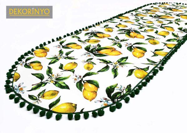 Ponponlu Limon Desenli Dekoratif Runner
