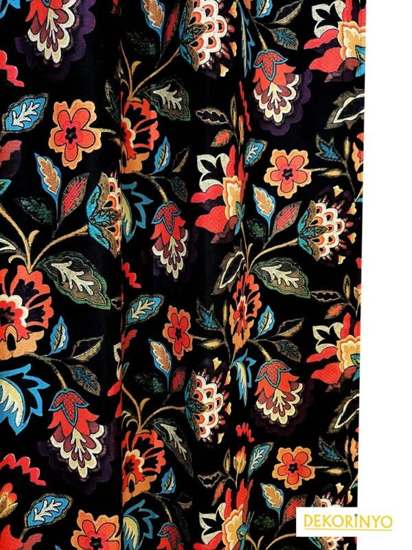 Özbek Çiçekleri Desenli Fon Perde