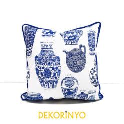 Vazo Desenli Biyeli Yastık