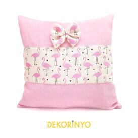 Pembe Flamingo Desenli Fiyonklu Yastık