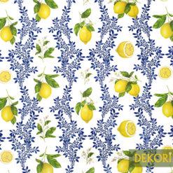 Limon Çiçeği Desenli Döşemelik Kumaş