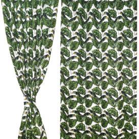 Yeşil Yaprak Desenli Perde