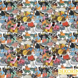 Kostümlü Kediler Desenli Döşemelik Kumaş