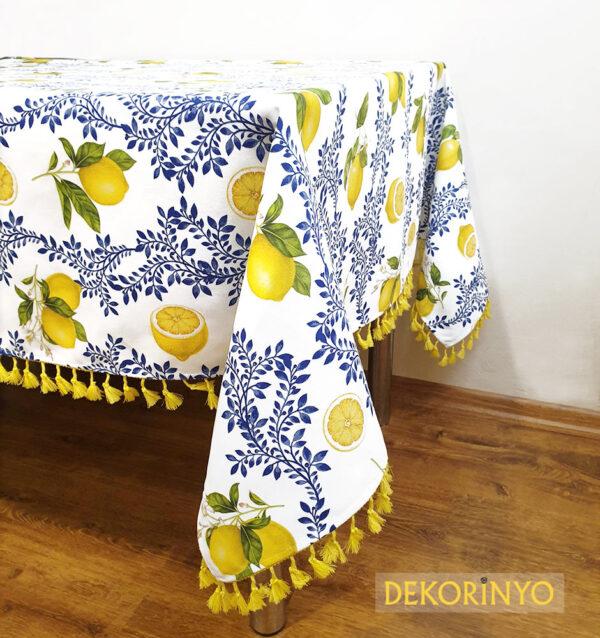 Limon Çiçeği Desenli Masa Örtüsü