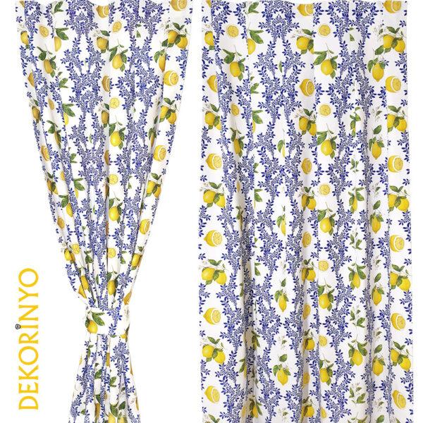 Limon Çiçeği Desenli Fon Perde